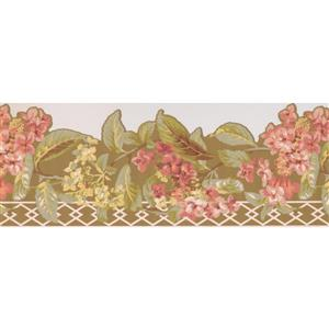 York Wallcoverings Floral Wallpaper Border Retro - Yellow