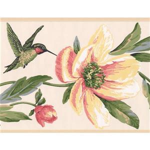 York Wallcoverings Flowers and Hummingbird Wallpaper Border - Pink/Yellow