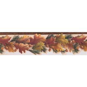 Chesapeake Autumn Leaves and Acorns Wallpaper Border - Brown/Yellow