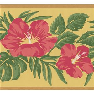 York Wallcoverings Vintage Floral Wallpaper Border - Yellow