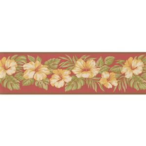 York Wallcoverings Vintage Floral Wallpaper Border - Yellow/Pink