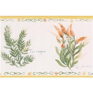 Norwall Spice Plants Kitchen Wallpaper Border - White