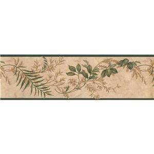 Norwall Leaves on Vines Floral Vintage Wallpaper - Green/Brown
