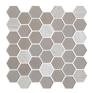 "Ceratec Lifestyle Exagon Wall Tile - 12"" x 12"" - Glass - Taupe"