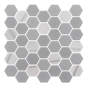 "Ceratec Lifestyle Exagon Wall Tile - 12"" x 12"" - Glass - Gray"