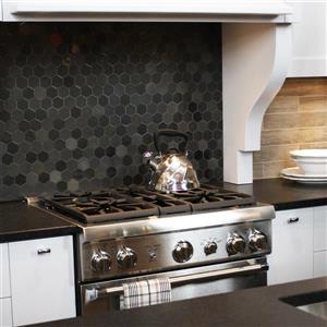 "Ceratec Lifestyle Exagon Wall Tiles - 12"" - Glass - Gray - 15 pcs"