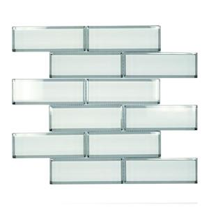 """Ceratec Lifestyle Crystal Wall Tiles - 12"""" - Glass - White - 10 pcs"""