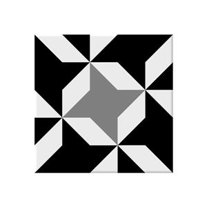 "Ceratec Geotiles Vendome Wall Tiles - 9"" - Porcelain - Black/White - 20 pcs"
