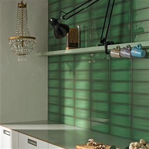 """Ceratec Iris Slide Floor Subway Tile - 12"""" - Ceramic - Emerald - 34 pcs"""