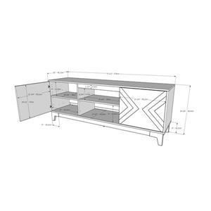 Nexera Arrow TV Stand, 72-inch, Bark Grey and Black