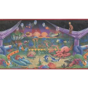 Retro Art Underwater Wallpaper Border - Purple