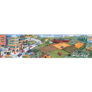 Retro Art Cartoon City Wallpaper Border - Multicoloured