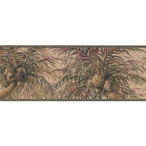 Retro Art Coconuts on Palm Trees Wallpaper Border - Beige