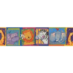 Retro Art Cartoon Animal Wallpaper Border - Multicoloured