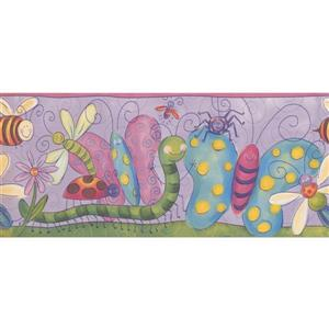 Retro Art Kids Insect and Flower Wallpaper Border - Purple