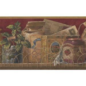 Retro Art Vintage Spices in Boxes Kitchen Wallpaper - Maroon
