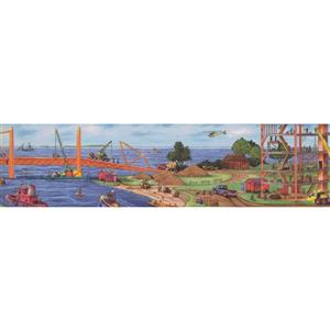 Retro Art Kids Construction Project by Sea Bridge Wallpaper