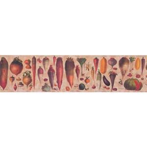 Retro Art Educational Vegetables Wallpaper Border - Beige