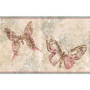 York Wallcoverings Abstract Rose and Butterflies Wallpaper Border - Beige