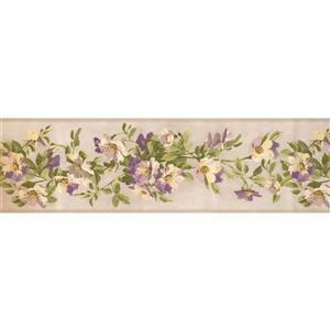 York Wallcoverings Flowers on Vine Wallpaper Border - Ivory