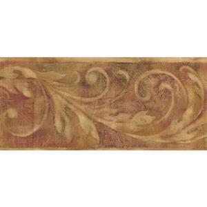 York Wallcoverings Vintage Damask Abstract Wallpaper Border - Beige