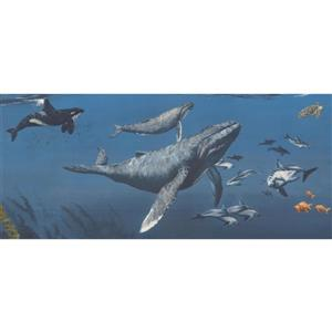 Retro Art Sharks and Whales Wallpaper Border - Blue