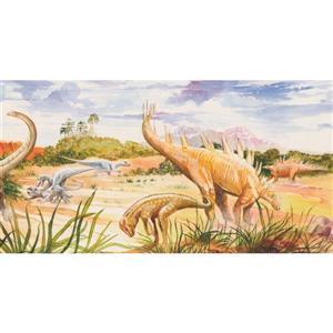 Retro Art Kids Dinosaurs and Volcano Wallpaper Border