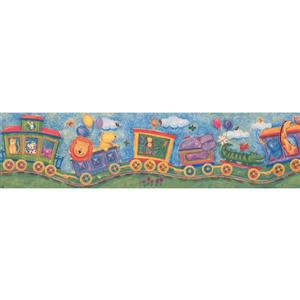 Retro Art Kids Cartoon Animals on Train Wallpaper Border