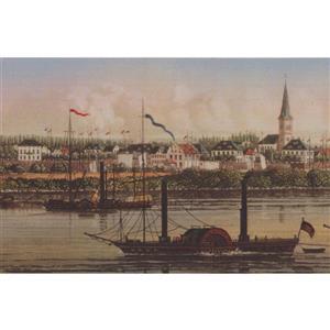 Retro Art Vintage City on River Wallpaper Border