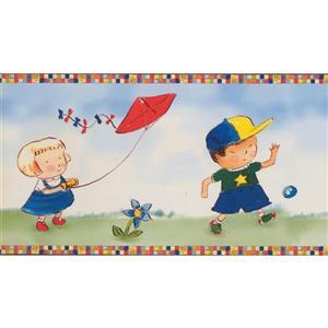 Retro Art Cartoon Kids Playing Floral Wallpaper Bprder