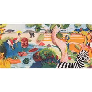 Retro Art Cartoon Jungle Animals Wallpaper Border