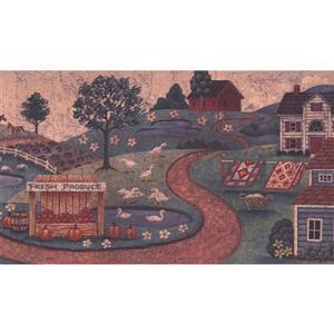 Retro Art Village Distressed Wallpaper Border - Beige