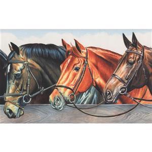 Retro Art Vintage Horses in Stable Wallpaper Border