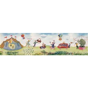 Retro Art Kids Cartoon Circus Tent Wallpaper Border