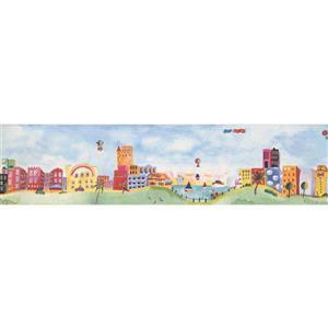 Retro Art Cartoon Town on the Lake Wallpaper Border