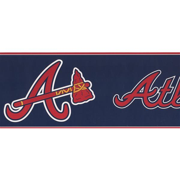 York Wallcoverings Atlanta Braves Mlb Baseball Wallpaper Border