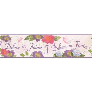 York Wallcoverings Kids Fairies and Flowers Wallpaper Border - Pink/Purple