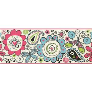 York Wallcoverings Kids Painted Flower and Butterfly Wallpaper Border