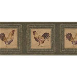 Retro Art Roosters in Pictures Wallpaper Border - Green