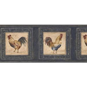 Retro Art Roosters in Pictures Wallpaper Border - Blue