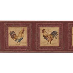 Retro Art Roosters in Pictures Wallpaper Border - Cherry Red
