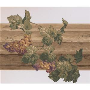 Retro Art Grapes and Fence Kitchen Wallpaper - Purple/Beige