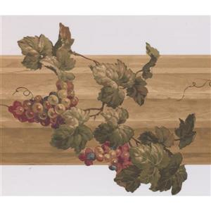 Retro Art Grapes on Fence Kitchen Wallpaper Border