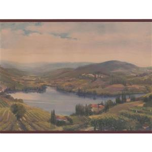 Retro Art Vintage Village by Lake Wallpaper Border