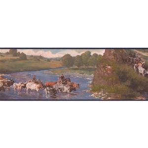 Retro Art Cows and Cowboys Wallpaper Border