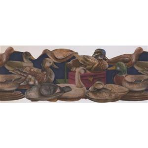 Retro Art Vintage Ducks Wallpaper Border - Blue