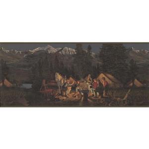 Retro Art Mountain Night Camp Wallpaper Border - Green