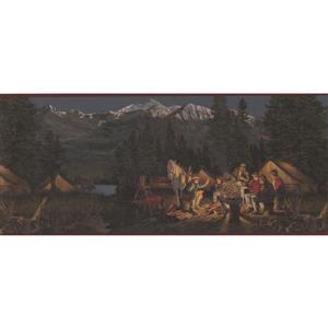 Retro Art Mountain Night Camp Wallpaper Border - Red