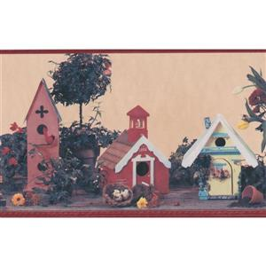 Retro Art Birdhouses and Tulips Wallpaper Border
