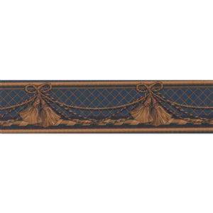 Retro Art Curtain Traditional Wallpaper Border - Brown/Blue